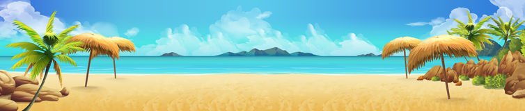 Overzees panorama, Tropisch strand Vector