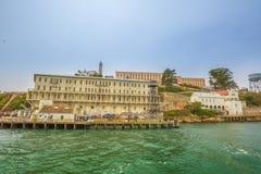 Overzees panorama van Alcatraz Stock Foto's