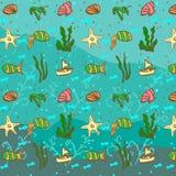 Overzees patroon met vissen Royalty-vrije Stock Foto