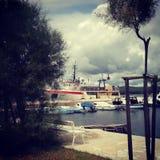 Overzees schip stock foto