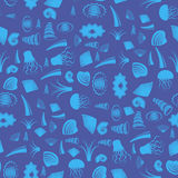 Overzees shell naadloos patroon Kwallen in de Zwarte Zee Stock Afbeeldingen