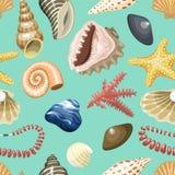 Overzees shells marien beeldverhaal schelpdier-SHELL en de oceaanachtergrond van het het koraal koraalachtige naadloze patroon va Royalty-vrije Stock Afbeelding