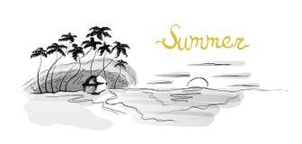 Overzees strand bij zonsondergang, palmen en hut op de kust Vectorillustratie in schetsstijl vector illustratie