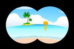 Overzees strand in binoculaire mening Royalty-vrije Stock Foto's