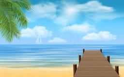 Overzees strand en houten pier royalty-vrije illustratie