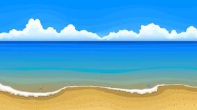 Overzees strand met wolken op horizon royalty-vrije illustratie