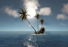 Overzees, tropisch eiland, palm, zon stock afbeeldingen