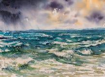 Overzees vóór geschilderde onweerswaterverf Royalty-vrije Stock Fotografie