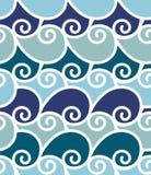 Overzees van de illustratorgolf naadloos patroon Stock Fotografie