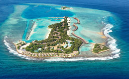 Overzees van de Maldiven eiland van lucht Stock Fotografie
