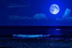Overzees van de middernacht landschap met een volle maan Stock Afbeelding
