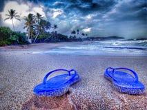 Overzees van de strand het mooie middag Stock Foto