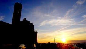 Overzees van de zonsondergangtijd landschap Stock Foto's