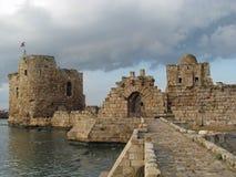 Overzees van Sidon Kasteel (Libanon) royalty-vrije stock fotografie