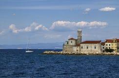 Overzees van Slovenië Adriatisch kustlandschap in Portoroz Royalty-vrije Stock Fotografie