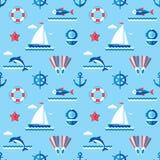 Overzees - vector naadloos patroon als achtergrond in vlak stijlontwerp Stock Afbeeldingen