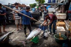 Overzees Voedsel Bali, Populaire Vissenmarkt Jimbaran, Indonesië Royalty-vrije Stock Foto