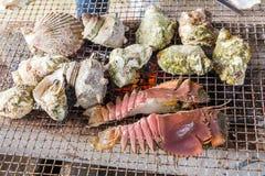 Overzees voedselbarbecue - verse oester, kammossel en rivierkreeftengrill Royalty-vrije Stock Afbeelding