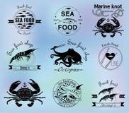Overzees voedseletiketten, kentekens en ontwerpelementen Royalty-vrije Stock Foto