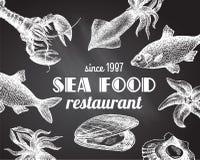 Overzees voedselillustratie Stock Afbeelding