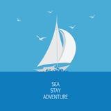 Overzees, zeilboot en zeemeeuwen royalty-vrije illustratie