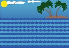overzees, zon, eiland en palmen Stock Afbeeldingen