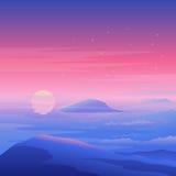Overzees zonsonderganglandschap Stock Afbeeldingen