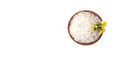 Overzees zout in een houten kom Stock Fotografie