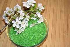 Overzees zout voor badkamers en bloeiende tak Stock Foto