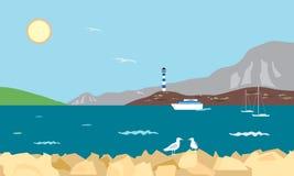 Overzeese baai met vuurtoren, boot en jachten en zeemeeuw op rots, de V.N. royalty-vrije illustratie
