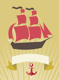 Overzeese banner met Zeilboot in beeldverhaalstijl Royalty-vrije Stock Foto