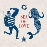 Overzeese beeldverhaalillustratie met zeeman en meermin Royalty-vrije Stock Afbeelding