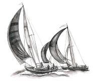 Overzeese boten Stock Afbeelding