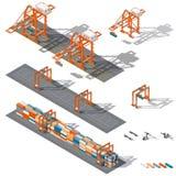 Overzeese containerterminal De streek van Ship-to-shore, en opslagcontainers, die het werk rtg en sts kranen wordt vertegenwoordi stock illustratie