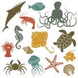 Overzeese dieren en vissenpictogrammen Royalty-vrije Stock Foto's