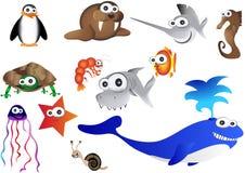 Overzeese dieren, illustratie van het oceaanleven Stock Foto