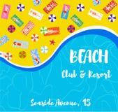 Overzeese en strandachtergrond voor de club of de toevlucht Vector illustratie stock illustratie