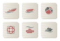 Overzeese en van het Strand pictogrammen   De reeks van het karton Stock Illustratie