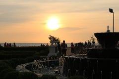 Overzeese en zonsondergangtoeristische attracties van Thailand Pattaya stock foto