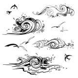 Overzeese geplaatste golven. Hand getrokken illustratie. Stock Foto