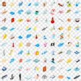 100 overzeese geplaatste het levenspictogrammen, isometrische 3d stijl Stock Afbeeldingen