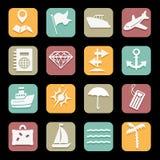 Overzeese geplaatste pictogrammen Stock Afbeelding