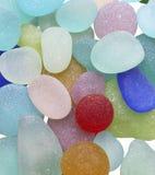 Overzeese Glaskiezelstenen van Vele Kleuren Stock Afbeelding
