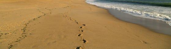 overzeese golf en voetafdrukken op het zandstrand De achtergrondzomer vac Stock Afbeelding