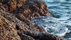 Overzeese golven die op de stenen breken stock videobeelden