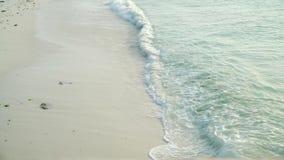 Overzeese golven die op zandig strand in avond rollen stock video