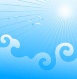 Overzeese golven en de zeemeeuwen. Vector. Stock Fotografie