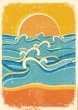 Overzeese golven en geel zandstrand op oud document Stock Afbeeldingen