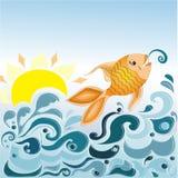 Overzeese golven en vissen Stock Foto's