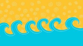Overzeese golven en zand of de animatie van de hemellijn stock video